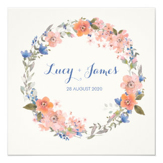 Boho Watercolour Floral Wreath Wedding Invitation