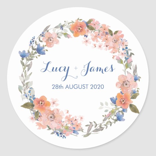 Boho Watercolour Floral Wreath Wedding Stickers