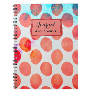 Boho Watermelon Red Geometric Hipster Circles Spiral Note Books