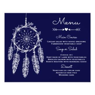 Boho Wedding Menu Navy Blue  Dream Catcher