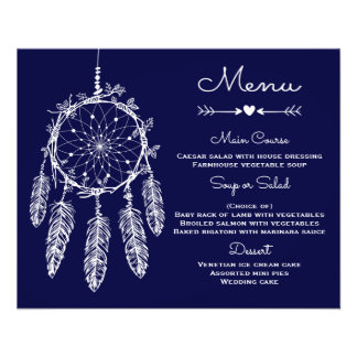 Boho Wedding Menu Navy Blue  Dream Catcher 11.5 Cm X 14 Cm Flyer