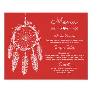 Boho Wedding Menu Red Tribal Dream Catcher 11.5 Cm X 14 Cm Flyer