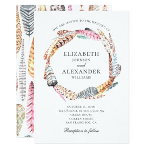 Boho wedding. Watercolor feathers wreath. Modern Invitation