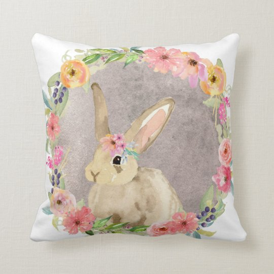 Boho Woodland Bunny Rabbit Baby Nursery Pillow