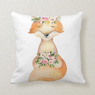 Boho Woodland Fox Baby Nursery Floral Girl Pillow