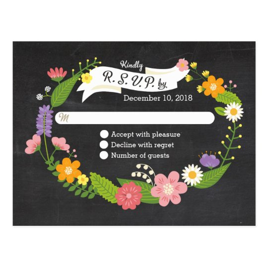 Boho Woodland Wreath on Chalkboard Wedding Postcard