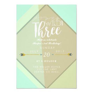 Boho Young Wild & Three | 3rd Birthday Party 13 Cm X 18 Cm Invitation Card