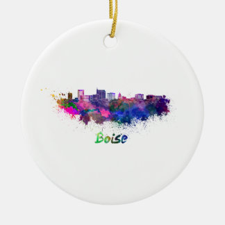 Boise City skyline in watercolor Christmas Ornament