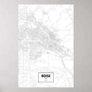 Boise, Idaho (black on white) Poster