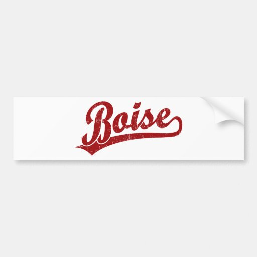 Boise script logo in red bumper sticker