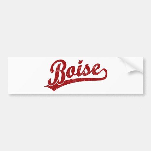 Boise script logo in red bumper stickers