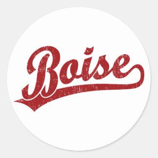 Boise script logo in red classic round sticker