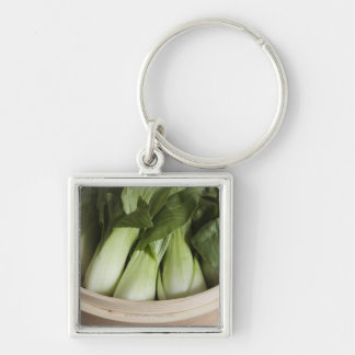 Bok choy Silver-Colored square key ring
