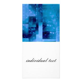 Bokeh 01 blue photo card