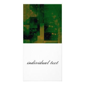 Bokeh 01 green customized photo card