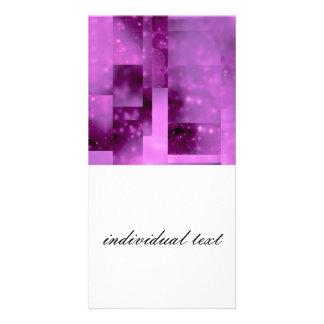 Bokeh 01 pink photo greeting card