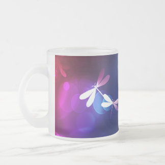 bokeh and dragonflies frosted glass mug