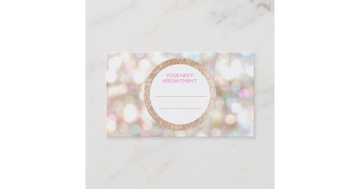 Bokeh And Rose Gold Sequin Hair Salon Appointment Zazzle