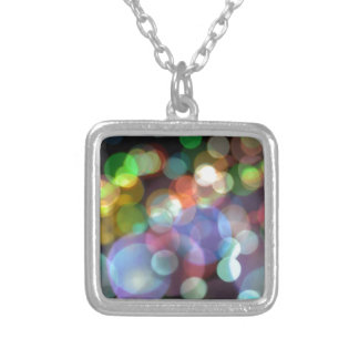 Bokeh Blurred Background Lights Square Pendant Necklace