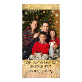 Bokeh Christmas Family Photograph Sparkle Shimmer Card