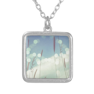Bokeh Christmas Light Silver Plated Necklace