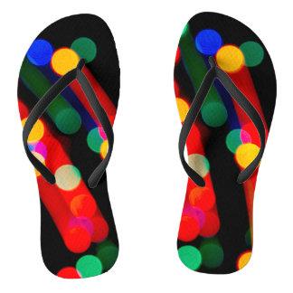 Bokeh Christmas Light Trails Flip Flops