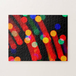 Bokeh Christmas Lights Trails Jigsaw Puzzle