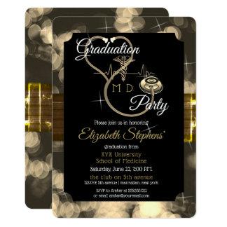 Bokeh Doctor Stethoscope EKG Graduation Party Card