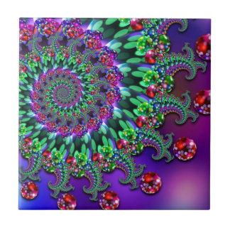 Bokeh Fractal Purple Terquoise Tile