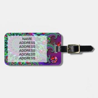 Bokeh Fractal Purple Turquoise Luggage Tag