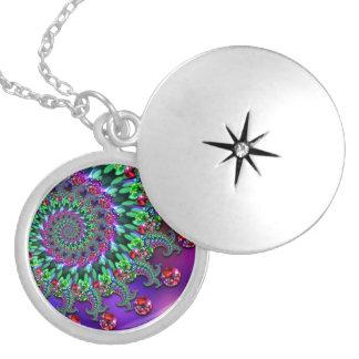 Bokeh Fractal Purple Turquoise Round Locket Necklace