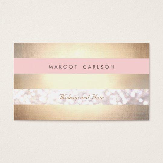 Bokeh Gold Striped Light Pink Makeup Artist Business