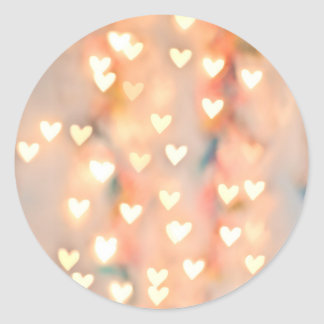 Bokeh Heart Twinkling Lights Glittery Pink Shimmer Classic Round Sticker