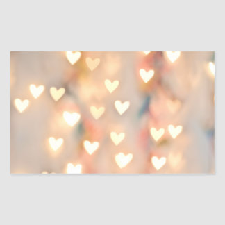 Bokeh Heart Twinkling Lights Glittery Pink Shimmer Rectangular Sticker