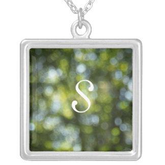 Bokeh In Spring Square Pendant Necklace