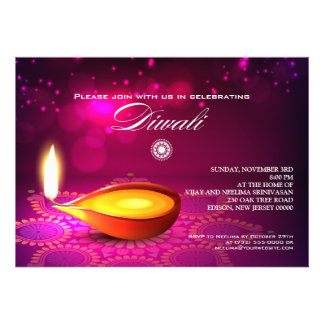 Bokeh Lights Diwali Lamp Party Personalized Announcement