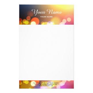 Bokeh lights letterhead stationery