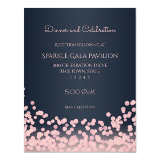 Bokeh Pink and Navy Blue Reception Card 11 Cm X 14 Cm Invitation Card