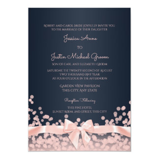 Bokeh Pink and Navy Blue Wedding 13 Cm X 18 Cm Invitation Card