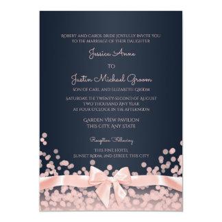 Bokeh Pink and Navy Blue Wedding 13 Cm X 18 Cm Invitation Card