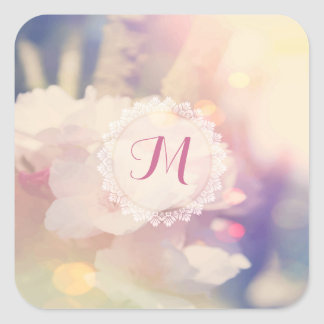 Bokeh Pink Yellow Fine Floral Background Square Sticker
