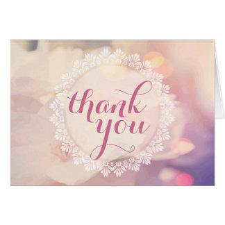 Bokeh Pink Yellow Fine Floral Thank You Card