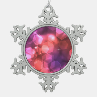 Bokeh purple and pinks snowflake pewter christmas ornament