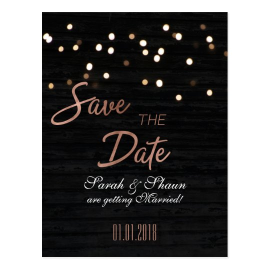 Bokeh Save the Date with Rose Gold Font