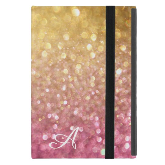 Bokeh Shimmering Glitter Look Gold Pink Sparkle iPad