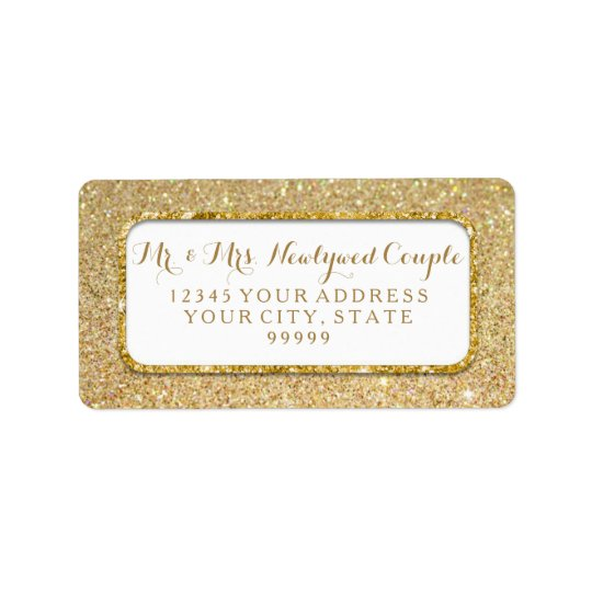 Bokeh Sparkle Script Gold Glitter Rounded Corners Address Label