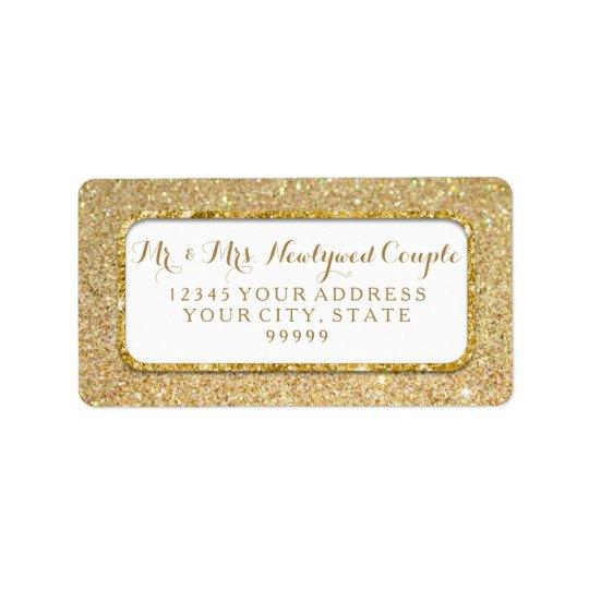 Bokeh Sparkle Script Gold Glitter Rounded Corners Label
