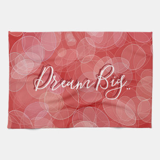 Bokeh style red gradient texture. text. tea towel