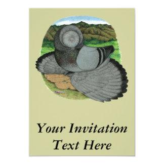 Bokhara Trumpeter:  Blue 13 Cm X 18 Cm Invitation Card