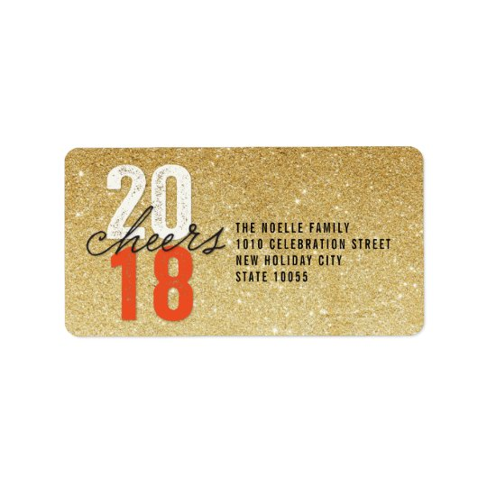 Bold 2018 Cheers New Year Holiday Address Labels